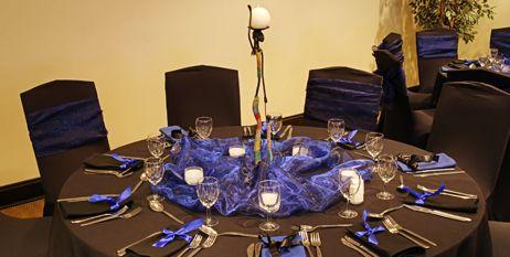 Decoracion De Mesa Copn Colores Azul Blanco Y Dorado Para