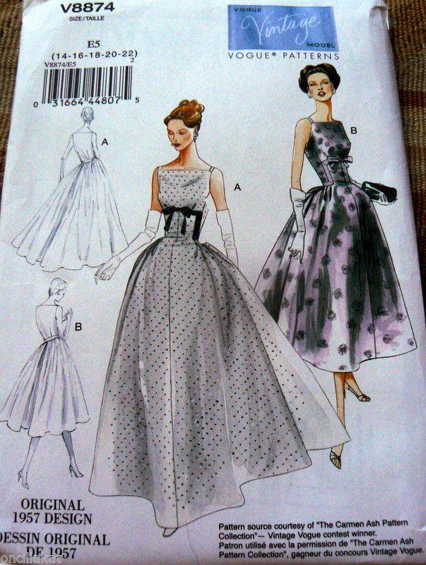 1950s Vogue Vintage модель платье выкройка 6-8-10-12-14 режиссерская версия