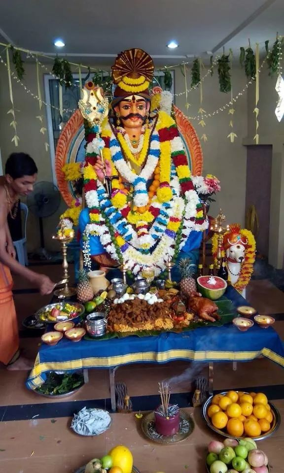 Muneeswaram is considered as a form of Shiva. He is worshiped as a family deity in most Shaivite families.