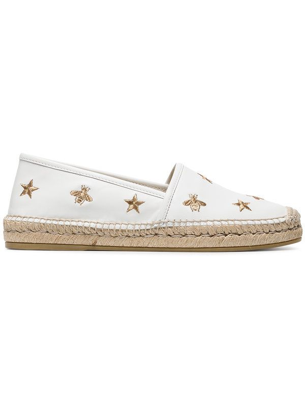 2c9d041c079 Gucci White Pilar Bee Embroidery Leather Espadrilles