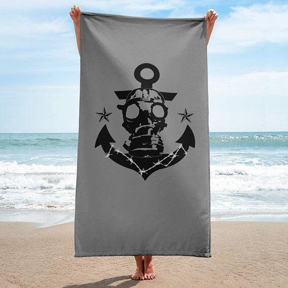 Gas Mask Anchor Beach Towel Grunge Beach Towel Hippie Beach Towel