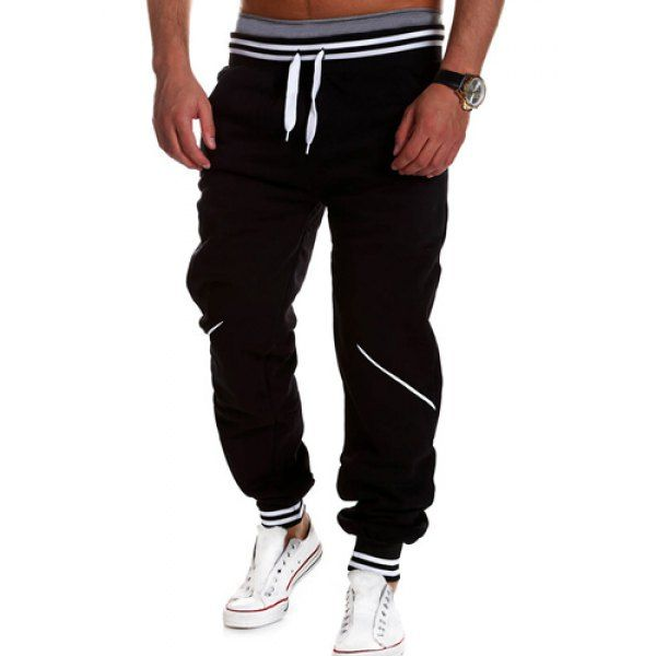 $14.20 Loose Fit Stylish Lace-Up Color Block Rib Splicing Beam Feet Polyester Sweatpants For Men