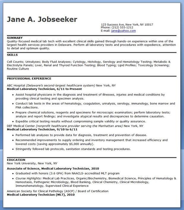 Medical Laboratory Technician Resume Sample
