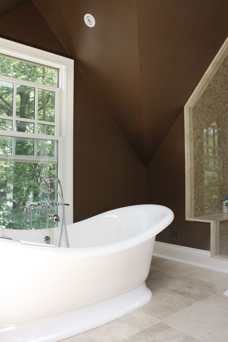 Brown marble bathroom miles redd - Chocolate Brown Is One Of My Favorite Colors To Use In Bathrooms With Tumbled Marble Walls