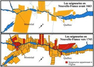 Cartes sur l'organisation des seigneuries en Nouvelle-France avant 1663 et vers 1745