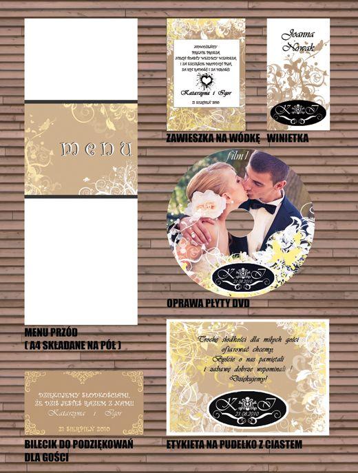projekt ŚLUB - zaproszenia ślubne, oryginalne, nietypowe dekoracje i dodatki na wesele: Kasia i Igor - kwieciste ornamenty - DODATKI ŚLUBNE