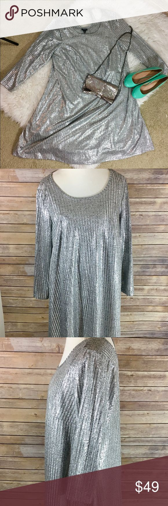 Torrid metallic plus size dress 2X NWT Torrid Plus Size 2 Silver Metallic ribbed dress. This dress also includes a slip underneath  Armpit to armpit length 22 in Dress length 28 in   All measurements are approximate  Smoke free home torrid Dresses Long Sleeve