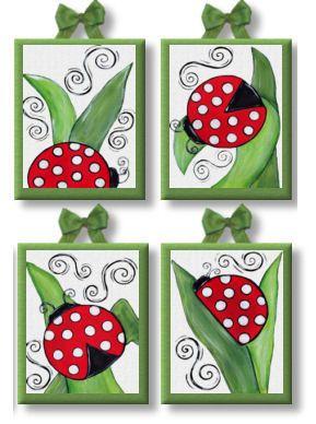 JoJo ladybugs wall art decor Set of 4 Giclee Canvas nursery art for kids and girls room