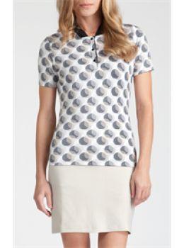 Tail Activewear Instant Spark Womens Circle Print Short Sleeved Golf Polo Shirt-Khaki and Black Print