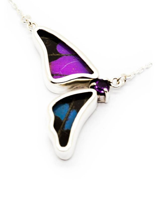 Sterling Silver Butterfly Necklace With Purple Amethyst Birthstone Purple Dots Half Graphium Weiskei Amethyst Birthstone Purple Amethyst Butterfly Necklace