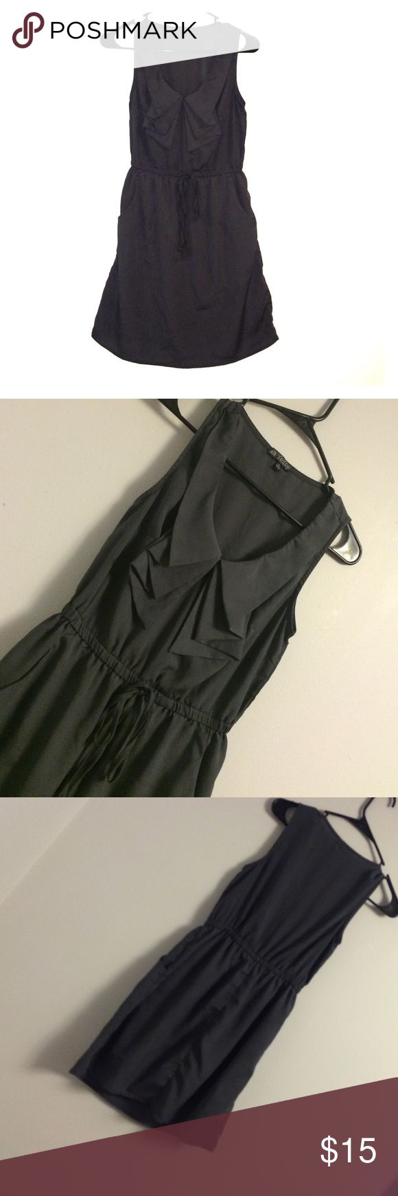 BeBop Gray Elastic Waist Sleeveless Ruffle Dress This dress is in good condition with normal wear. Bust is about 16.5 inches. Length is about 31.5 inches. It's been washed and steamed BeBop Dresses