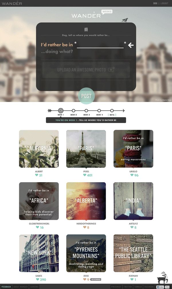 Wander Weeks by Wander , via Behance | #webdesign #it #web #design #coffee #layout #userinterface #website #webdesign <<< repinned by www.BlickeDeeler.de | Follow us on www.facebook.com/BlickeDeele