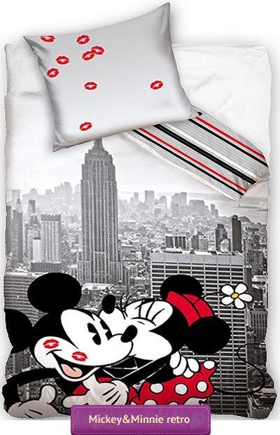 Pościel Minnie i Mickey retro pościeli dla dziewczynek 140x200 lub 160x200. Pościel z całuśnymi…
