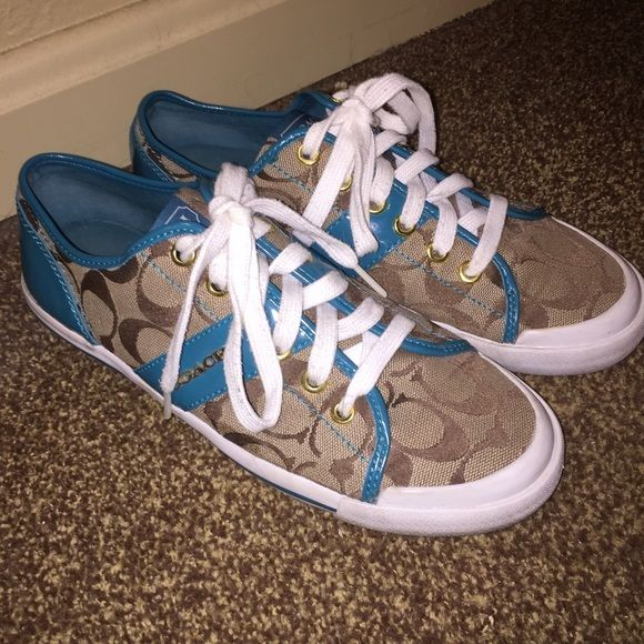 Coach Tennis Shoes Authentic Coach Tennis Shoes. Size 8. Teal accents. EUC. Slight signs of wear as pictured. Coach Shoes Sneakers
