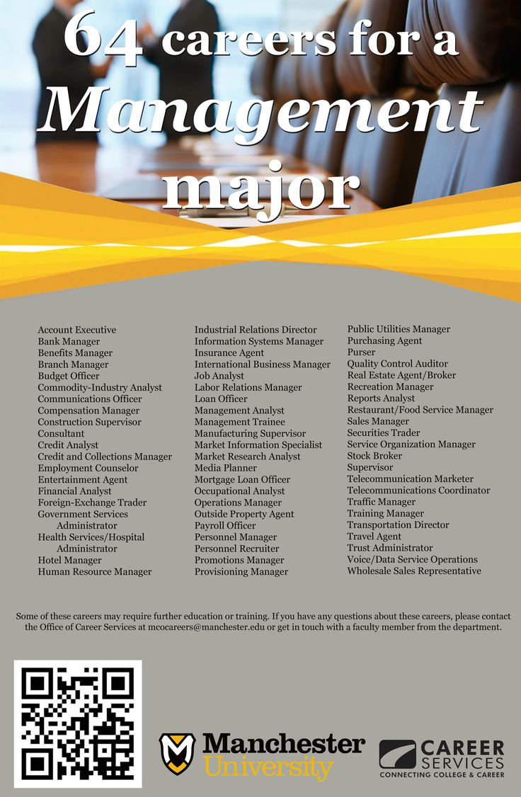 64 careers for a Management Major