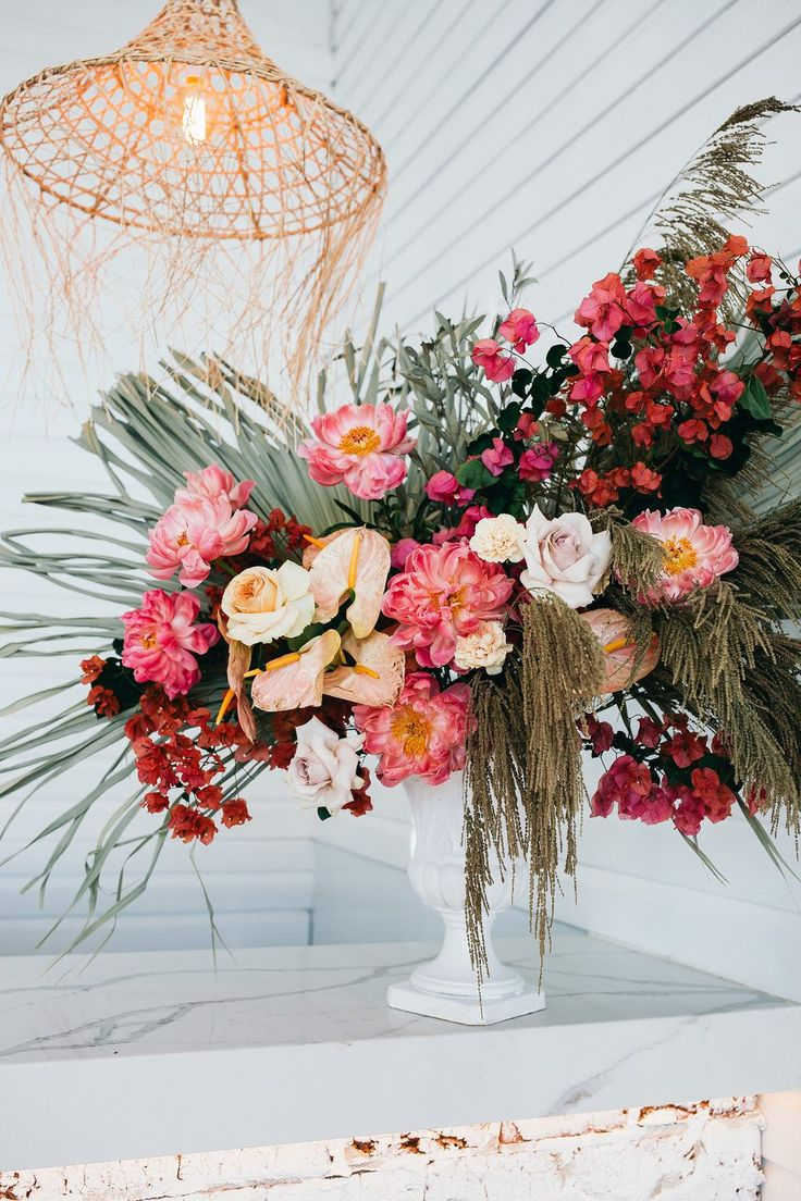 Beach Wedding Editorial with Dried Florals and Papaya