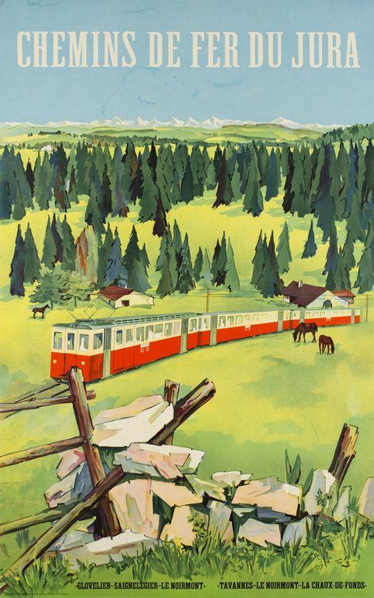 Chemins de fer du Jura, La Chaux-de-Fonds, Le Noirmont, affiche par Walter Zulauf, vers 1950.
