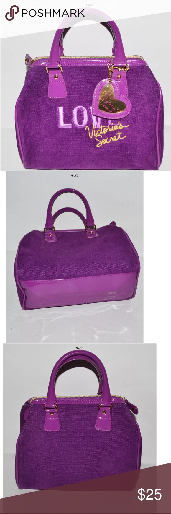 "Victoria's Secret cosmetics Bag Victoria's Secret Embroidered Purple Velvet Love Purse Handbag / measures 9 1/2"" wide x 8"" tall / Very nice Gently Used Condition. Victoria's Secret Bags Cosmetic Bags & Cases"