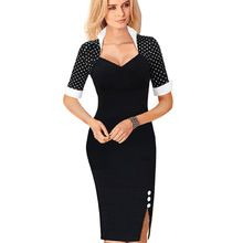 Vintage Women Summer Celebrity Bodycon Wear To Work Sheath Dress Cocktail Short SleeveTunic Pencil Party Formal Dresses B47(China (Mainland))