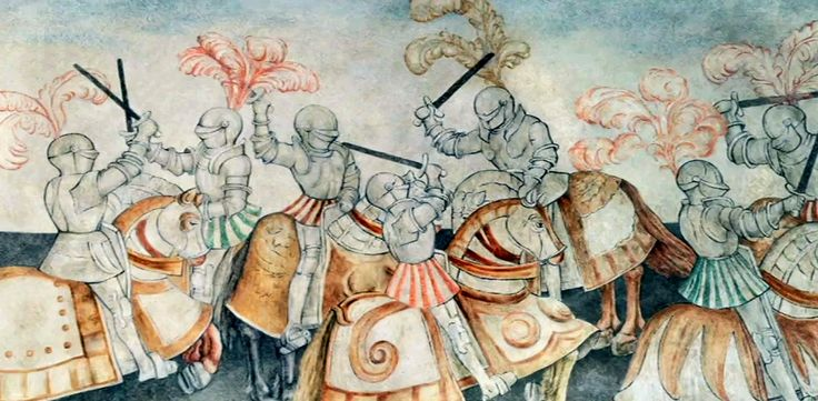 A tournament, fragment of a painted freize in the Tournament Hall at the Wawel Castle by Hans Dürer from 1530