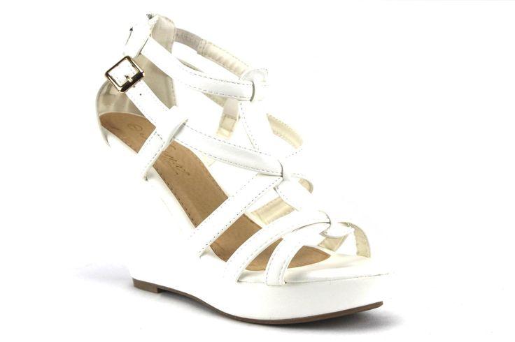 Women's Iynx Gladiator Wedge Sandals Fay White
