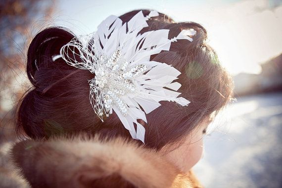 Snowflake Hair Fascinator by ChantillyLaceDesigns on Etsy, $62.00