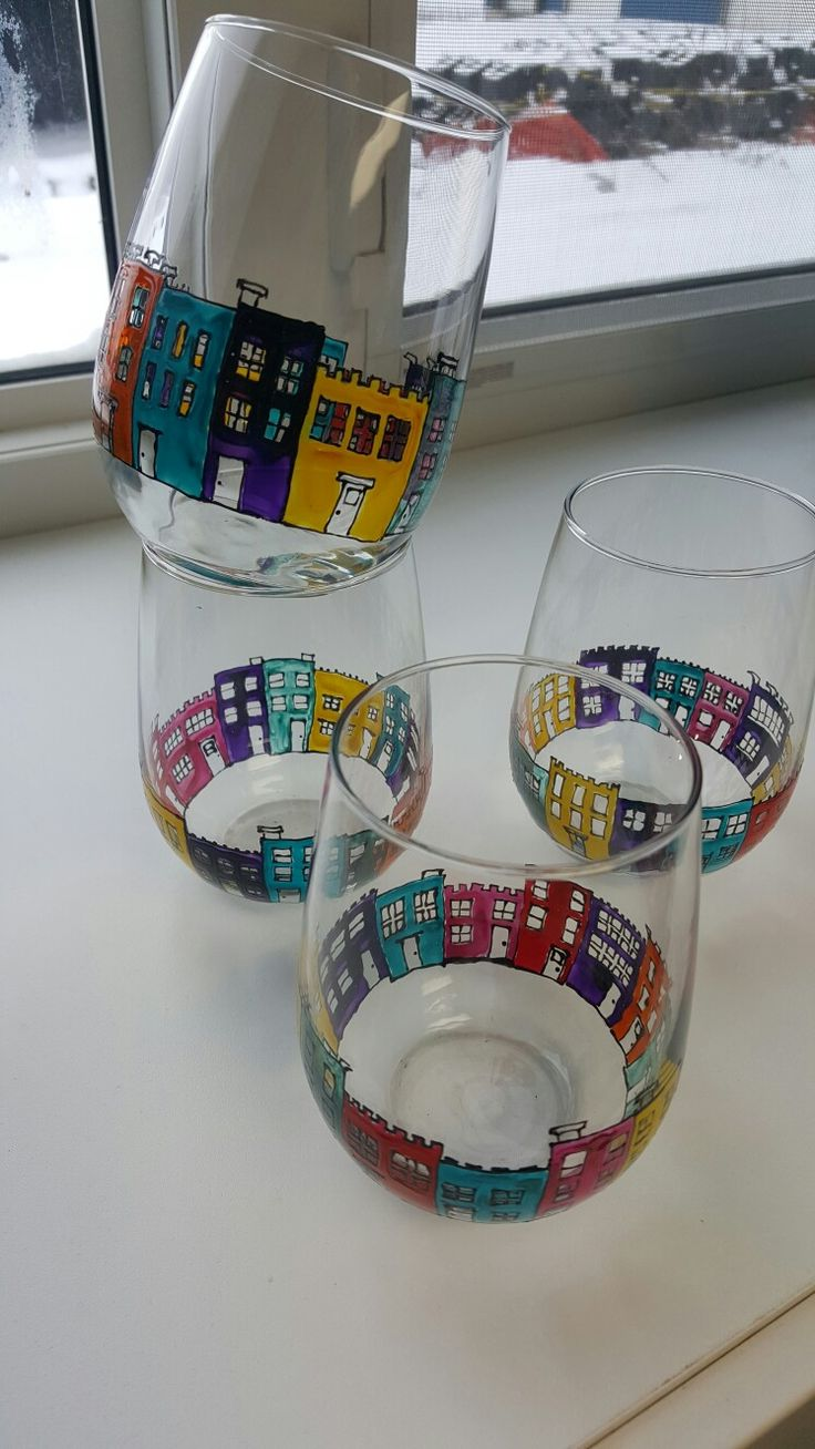 St John's Newfoundland Jelly Bean Row stemless wineglasses #art #painting #diy #glasspainting #newfoundland #stjohns #jellybeanrow #jellybean