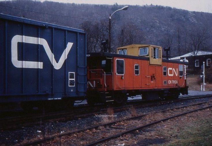 Railroad: CN     Type of Unit: Caboose     Type of Slide: Original Slide - Non-Kodak processed Ektachrome    Date: 8-1984     Location: Bellows Falls VT