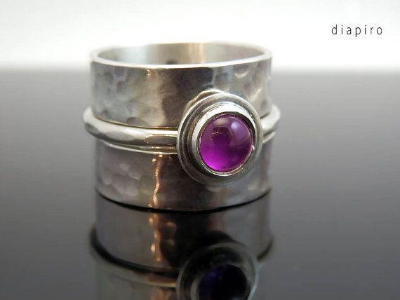 Silver Ring, Silver Handmade, Silver Amethyst, Contemporary Jewellery, Amethyst Gemstone, Birthstone, Silver Chunky Ring