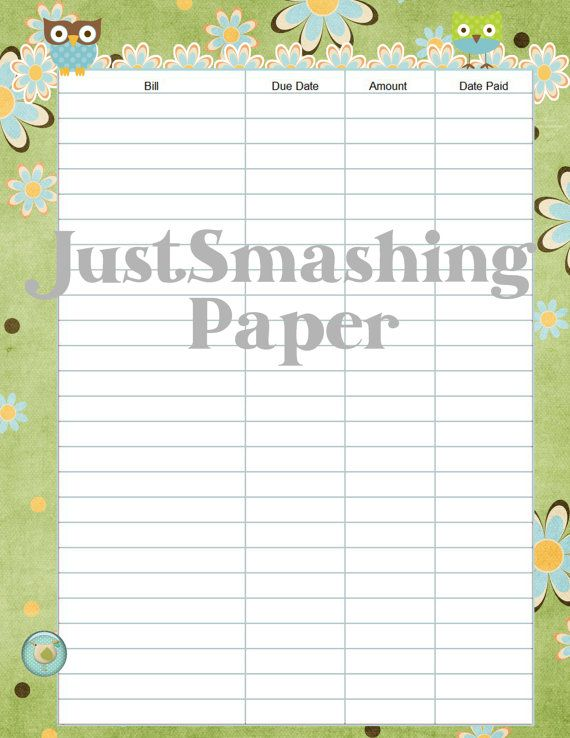 Printable Bill Pay Organizer Sheet with Owls