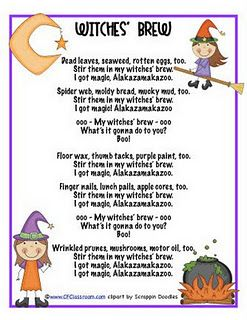 Hap Palmer's Witches' Brew Song Yeah! Someone wrote the lyrics to my favorite song with adorable clip art!!!!
