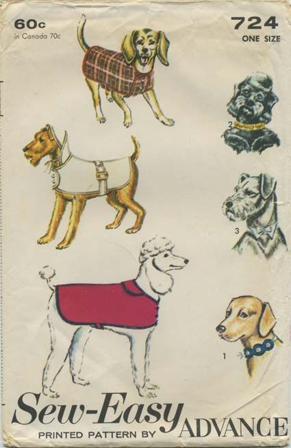 Vintage Dog Clothes Sewing Pattern | Dog Coat or Raincoat | Advance 724 | Year 196? | One Size