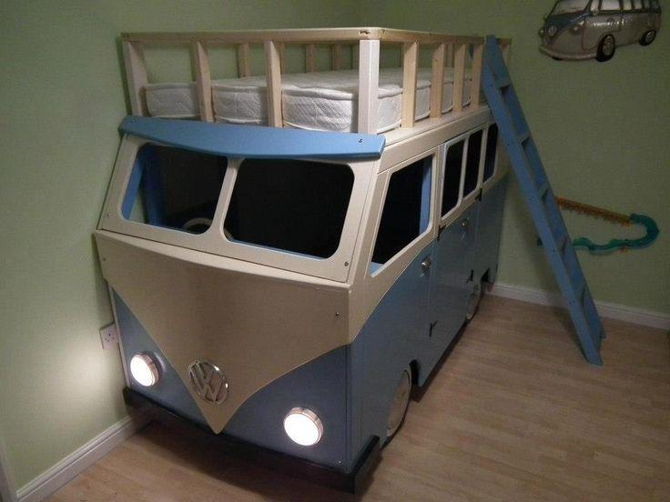 Epic VW Kombi Campervan bunk beds! Love the working lights too! #kombilove #kidslovekombistoo