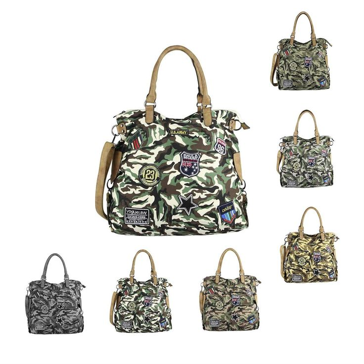 OBC DAMEN MILITARY TASCHE Shopper Camouflage Patches Handtasche Canvas Schultertasche Umhängetasche Army Damentasche Sticker Reisetasche Beuteltasche DIN-A4