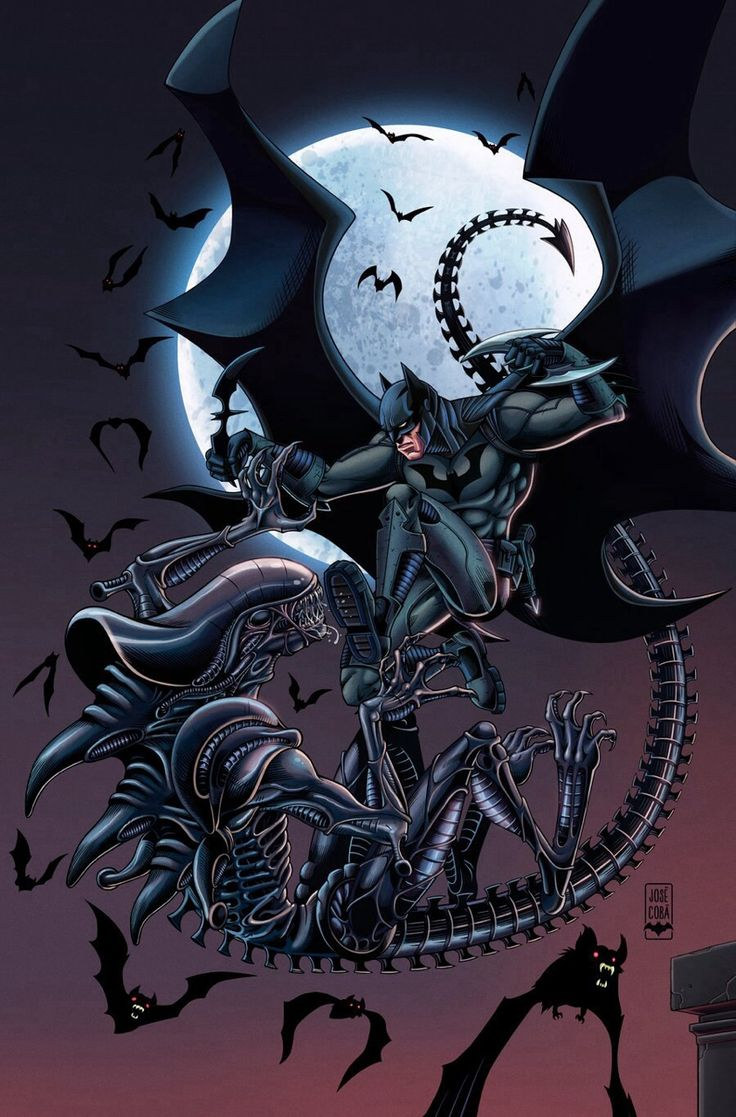 batman vs alien by - photo #7