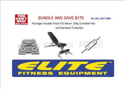 Bundle And Save Package, Force USA FID Weight Bench, 20kg Dumbbell Kit and Standard Tricep Bar. gumtree