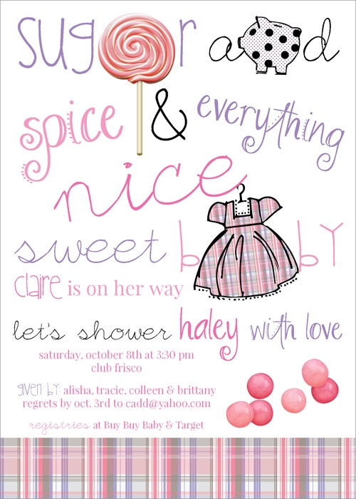 54 best images about sugar and spice baby shower on pinterest, Baby shower invitations