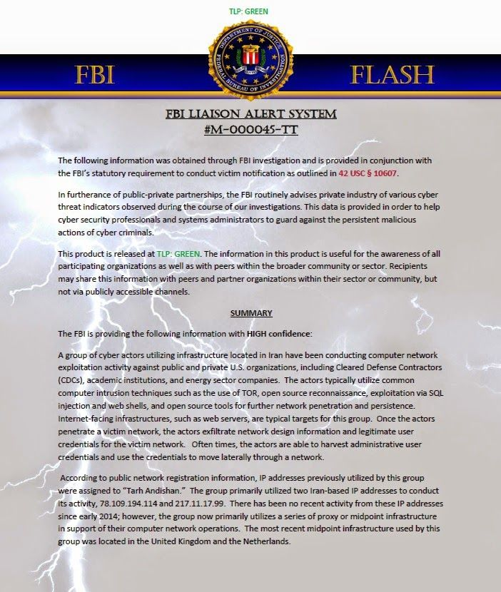 IISCA-Blog: WARNING!!!! ---- FBI report on possible cyber atta...