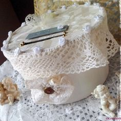 """Urne de mariage ronde ivoire """"bonheur"""", décoration mariage romantique, urne dentelle mariage,urne ronde ivoire,urne mariage vintage"""
