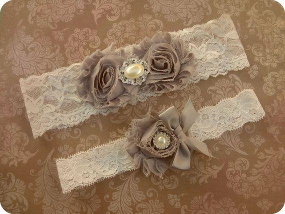 Grey Wedding Garter Garters By BellaBrideInStyle 1849 Vintage GartersWedding SetVintage