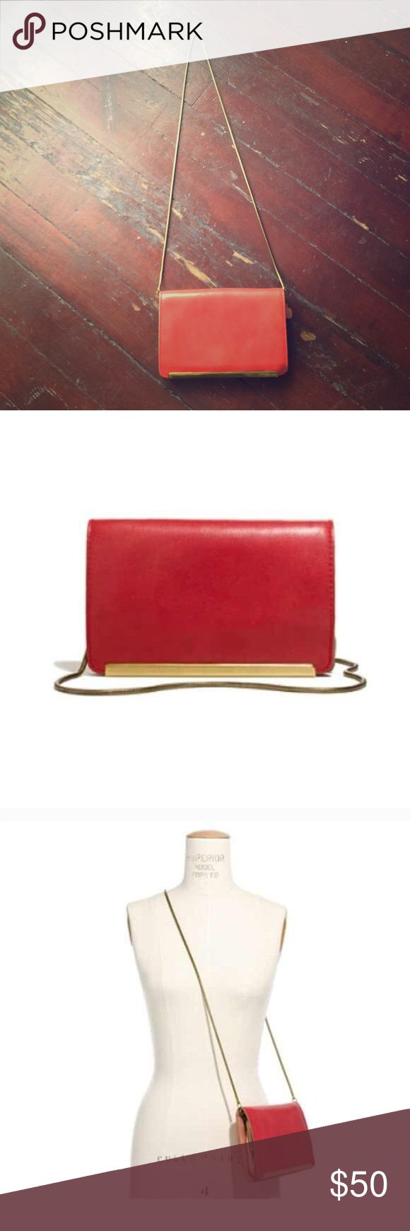 Red leather Madewell Clutch Sweet strawberry colored leather clutch from Madewell! Im not sure if I want to let this one go! Gold chain can be removed. Great condition, timeless. Madewell Bags Clutches & Wristlets