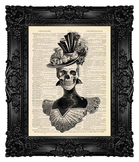 Skeleton Art Victorian Gothic Decor Gothic by MadameBricolagePrint