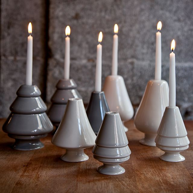 Avvento Candlesticks in grey shades