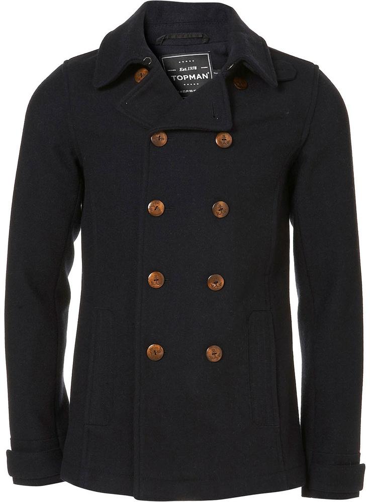 Navy Wool Skinny Fit Peacoat - Wool Coats - Mens Jackets & Coats - Clothing - TOPMAN