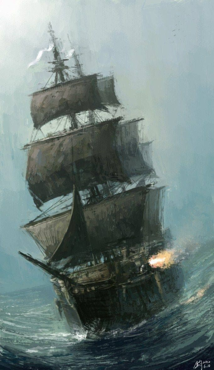Drawing of battle on the Savage seas