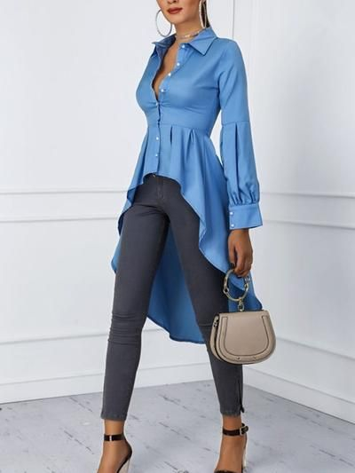 Women Elegant Solid Lantern Sleeve Swallowtail Design Blouse