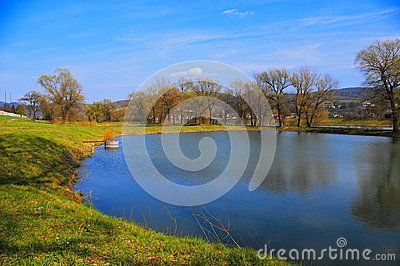 Small village fisheries pond on spring, Slovakia