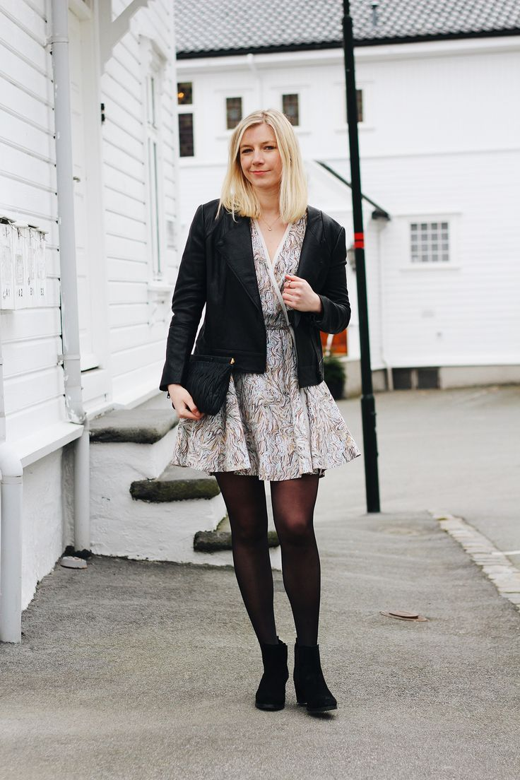 It's time for Spring dresses, Dagmar dress and leather jacket