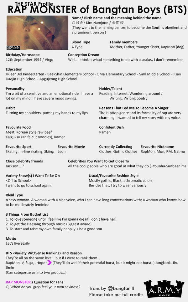 Translation for BTS The Star Profiles -- cr: ARMY Base @bangtanitl