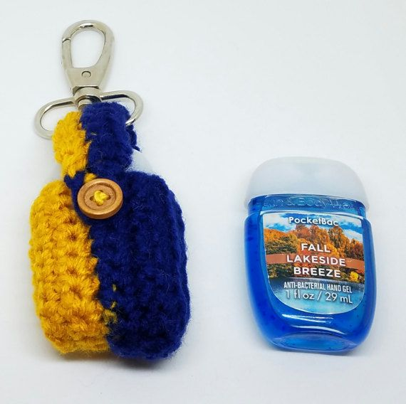 Crochet Maize And Blue Hand Sanitizer Holder U Of M Pocketbac